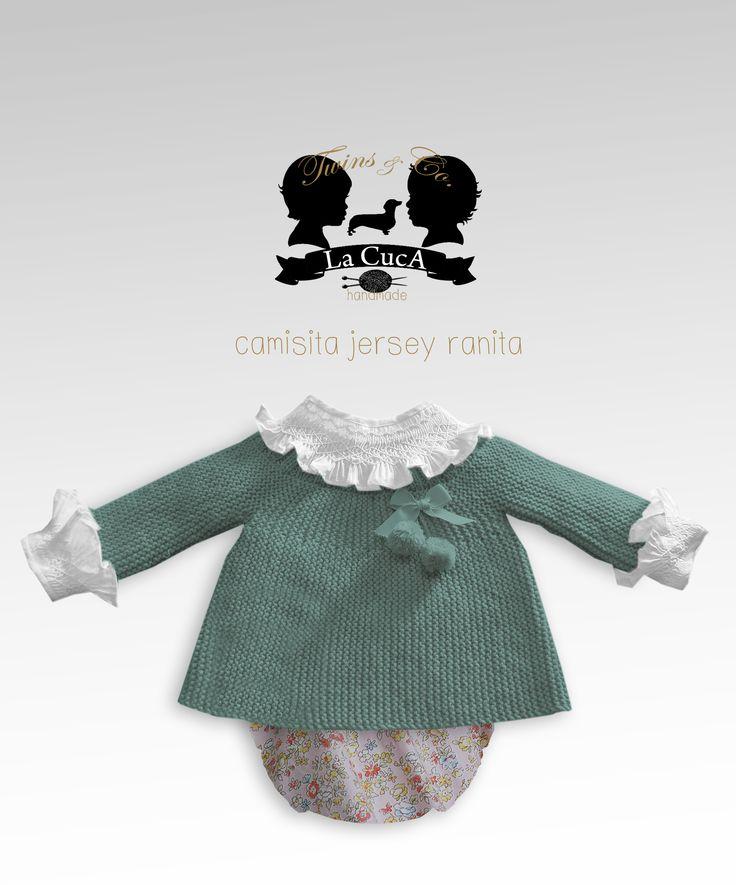 Twins jersey en lana hecho a mano y ranita de flores