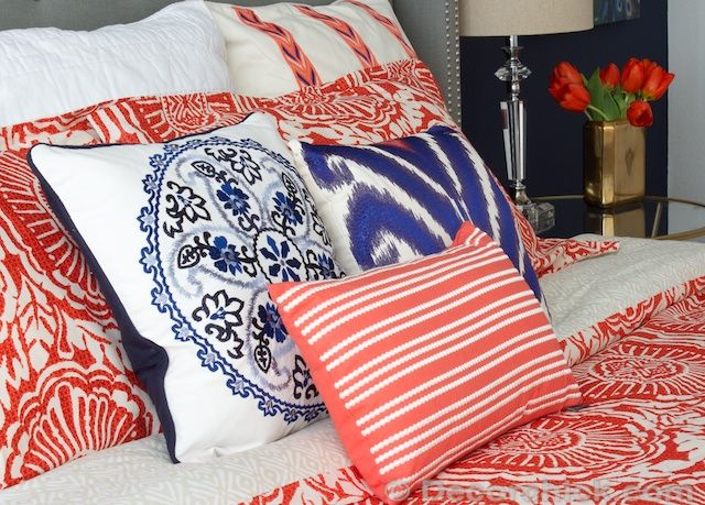i redid our master bedroom again navy and coral bedroom