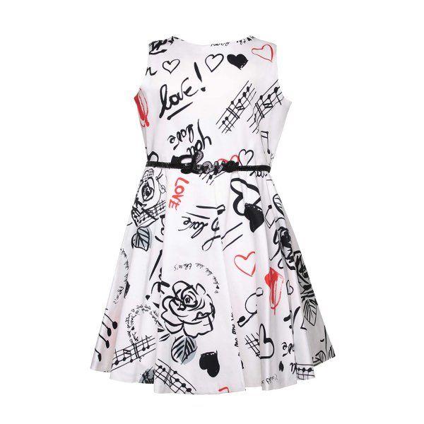 ELSY - ABITO BIANCO STAMPATO RAGAZZA Vivace abito bianco con stampe rosse e nere per ragazze della nuova linea di abbigliamento firmata Elsy Junior - Collezione Primavera Estate 2017. #elsy #abitimoda #modateen #abbigliamentofirmato #shoponline #annameglio