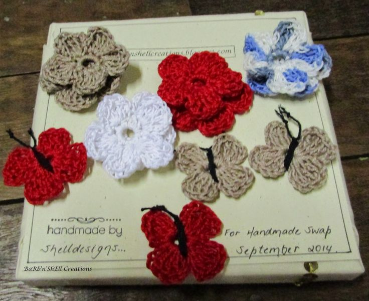 BaRb'n'ShEllcreations - Mini Canvas featuring Crocheted flowers and butterflies - created for Handmade Swap Group - Spring - made by Shell