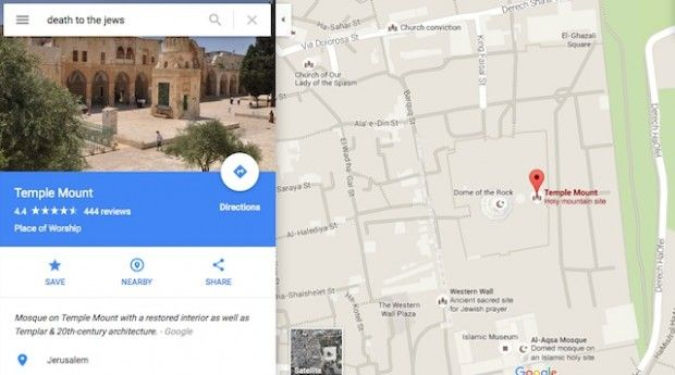 Someone Discovered Google Map Search for 'Death to the Jews' Directs to Key Religious Site