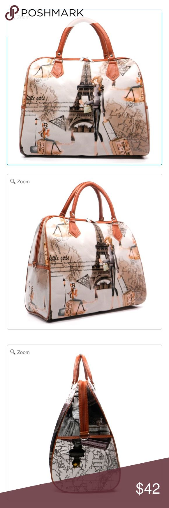 NEW Tour Illustration Weekend Tote Designer inspired handbag NeW Faux leather Zip top closure Silver-tone hardware Detachable shoulder strip L 17 * H 14 * W 7.5 (5 D) Large Size - Good for Vacation or Travel Use  Tour Illustration Overnight Weekend Tote: Eiffel Tower-Tan Brown Color Bags Travel Bags