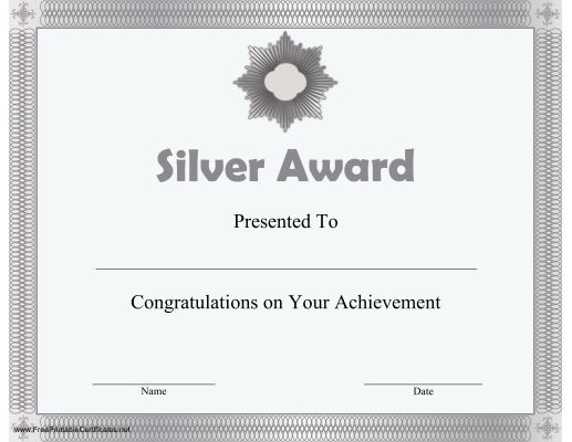 A silver award offering congratulations on any achievement. Free to download and print
