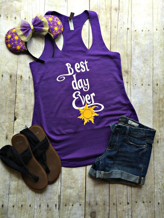 "Thank you for stopping by my shop! I am excited to have you here! Disney Addicts this top is for you!! My ""Best Day Ever"" is perfect for your Disney vacation! ***This listing is for the tank top only!"