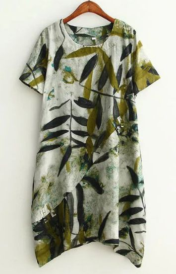 Plus Size Leaf Print Short Sleeve Tunic Dress