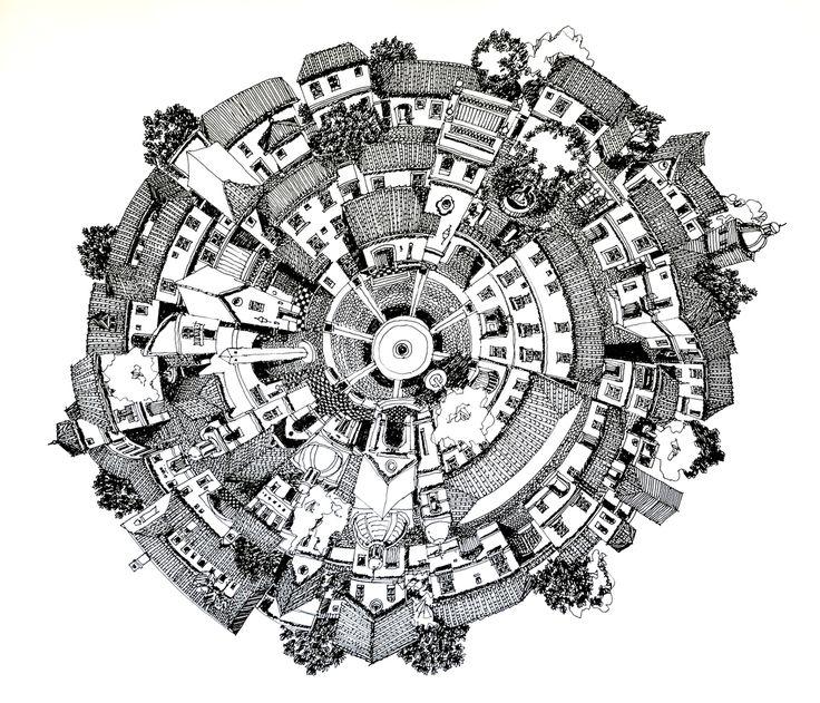 Ilustraciones medievales que desafían la realidad arquitectónica,La Aldea Circular. Image Cortesía de Juan Luis López