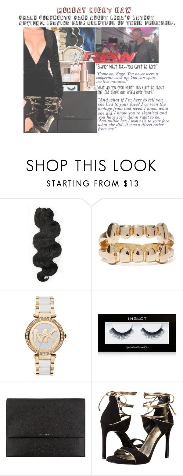 """Monday Night Raw: Shane Secretly Confronts Sage about Lena's Latest Actions"" by sage-forever ❤ liked on Polyvore featuring &K, MICHAEL Michael Kors, Inglot, Burberry, Stuart Weitzman, WWE, raw and wwediva"