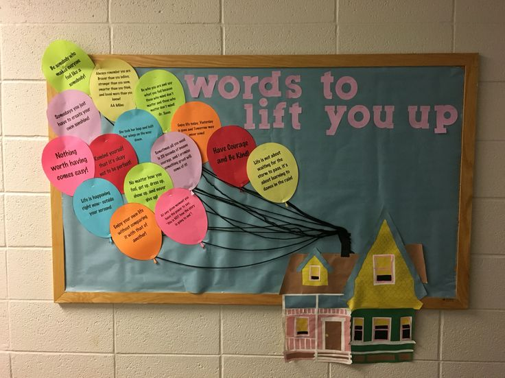 Uplifting Ideas: Inspirational Quotes Up Themed Bulletin Board.