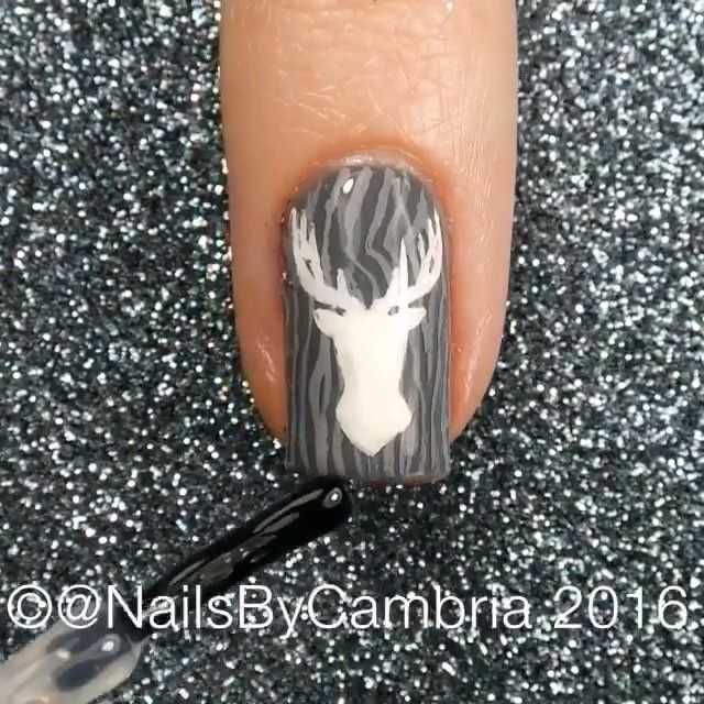 Deer nails By @nailsbycambria #NailsArtCentral