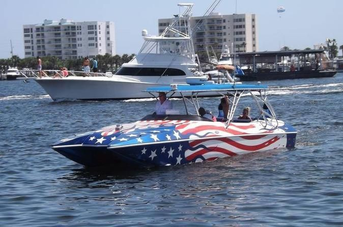 Fireworks and Dolphin Cruise in Destin See the sunset from the water as you search for dolphins on this 2-hour cruise. After sailing through Destin Harbor and the Gulf of Mexico, enjoy an amazing fireworks show. Admire the sunset, dolphins, and fireworks on this unique cruise.Meet your guide at the Screaming Eagle Sports Kiosk, located at 314 Harbor Boulevard. Follow your professional guide onto the boat, and then anchors away for a water adventure on this 2-hour cruise.&nbsp...