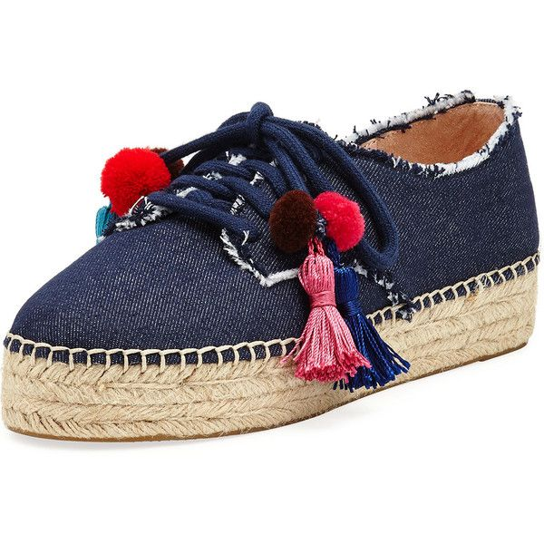 Kate Spade New York lane tassel denim espadrille sneaker (2.235.745 IDR) ❤ liked on Polyvore featuring shoes, sneakers, indigo, lace up espadrilles, espadrille sneakers, espadrille flatforms, laced up shoes and flatform espadrilles