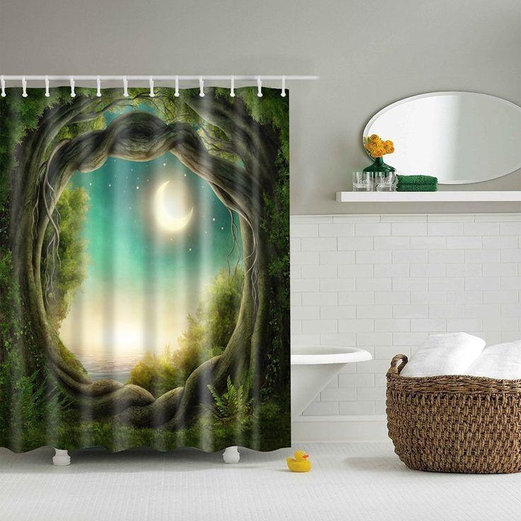 Xinhuaya Bathroom Decor Shower Curtain With Mystic Fairy Tree Of Life Enchanted Forest Mystical Lights Digital