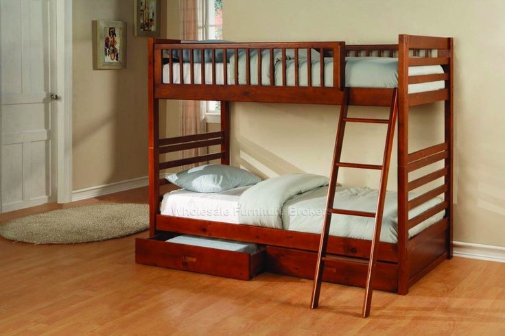 Fraser Solid Wood Bunk Bed with Storage Drawers Twin Over Twin at GoWFB.ca | Free Shipping
