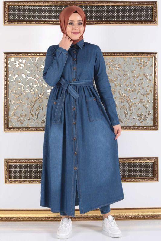 da47fb4579a06 Boydan Düğmeli Kuşaklı Kot Ferace TSD1424 Koyu in 2019 | DIŞ GİYİM / FERACE  | Kot elbiseler, Kotlar, Giyim