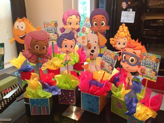 67 best images about luna 39 s bubble guppies party on pinterest nick jr hanging decorations and - Bubble guppies center pieces ...