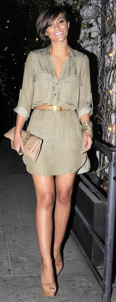 Frankie Sandford looking gorge in khaki and tan :)