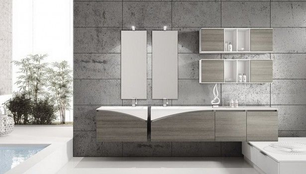 Bathroom Contemporary Bathroom Ceramic Wall With Twin Mirror Light Shelves And Storage Cabinets Also White Floor Tile Ideas Beautiful Modern Contemporary Bathroom Design Ideas For Dazzling Look