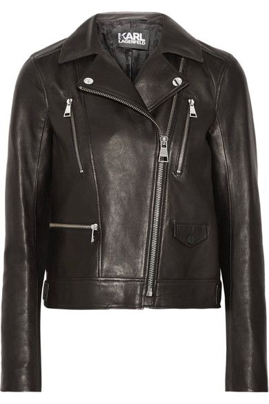 Black leather Asymmetric zip fastening through front 100% leather (Lamb); lining: 51% acetate, 49% viscose Specialist clean Imported