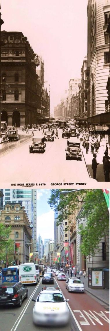 George Street, near Martin Place, Sydney circa 1930 and 2009. [circa 1930: Trove/State Library of Victoria - 2009: Google Street View/by Phil Harvey]