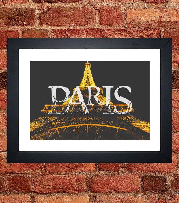 Eiffel Tower Night Print - Digital download.
