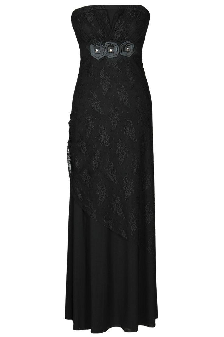 Elegancka sukienka bez ramiączek o dopasowanej górze, dół rozkloszowany. Na przodzie efektowna koronkowa ozdoba w formie kwiatów. Idealna propozycja na wieczór.#modadamska #moda #sukienkikoktajlowe #sukienkiletnie #sukienka #suknia #sukienkiwieczorowe #sukienkinawesele #sukienkikoronkowe #allettante.pl