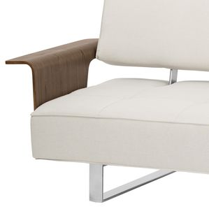 Armen Living Taft Mid-Century Convertible Futon in Beige Tufted Fabric and Walnut Wood
