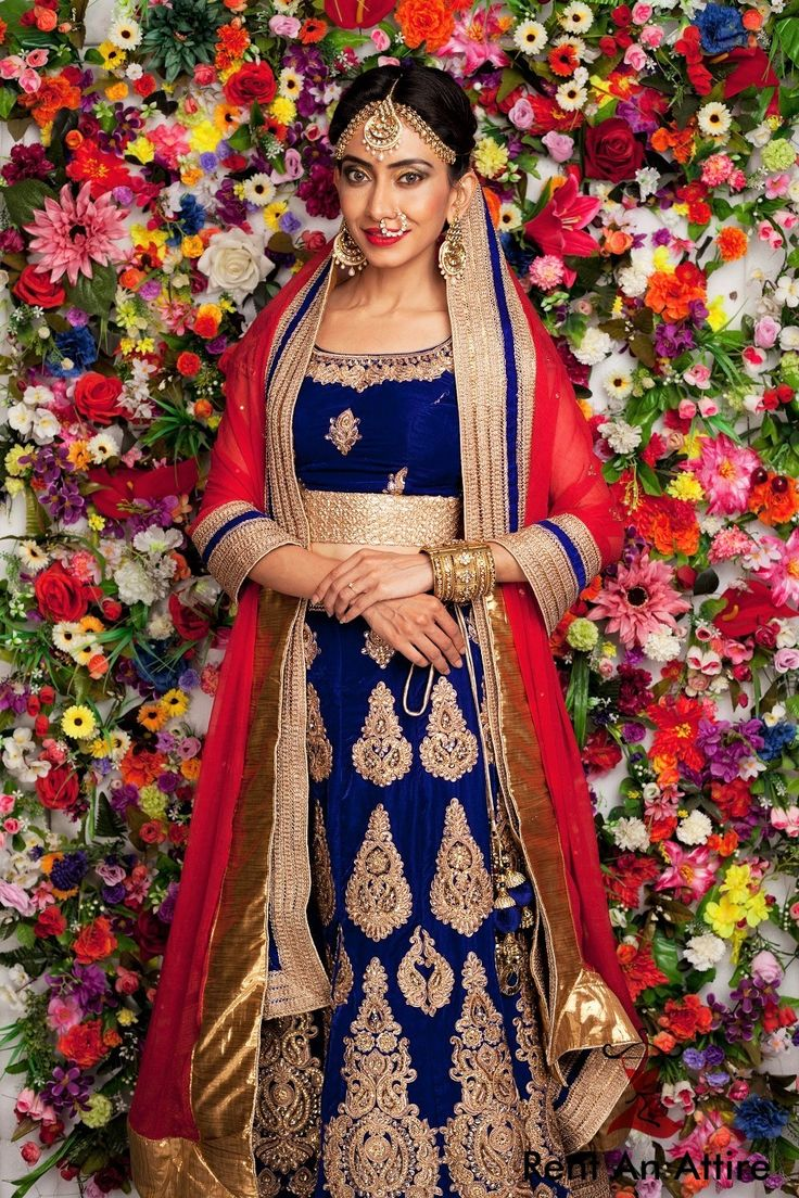 Bridal wear isn't just about reds anymore, it is about playing with colors & bringing out a modern bride's style. Introducing royal blue velvet lehenga paired with a red chiffon dupatta.. So you beautiful brides! Amplify your look with our classy bridal collection and make your day memorable.. Model: Anuja Shinde Photographer: KeyurBokilPhotography Location: Sheetal Petkar - A Glamour Portraiture Studio #Bridal #Designerwear #Royal #Velvet #Lehenga #Gold #Embroidery #