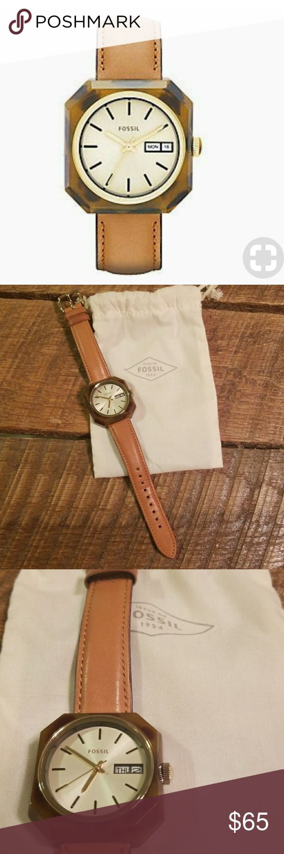 Fossil leather and tortoise shell watch Fossil watch with camel leather strap and plastic tortoise shell casing.  Gently used and in good condition.  Needs a new battery. Fossil Accessories Watches