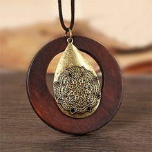 Винтаж женщина ожерелья заявление ожерелья & подвески деревянный кулон collares mujer choker ожерелье женщины Длинное Ожерелье(China (Mainland))