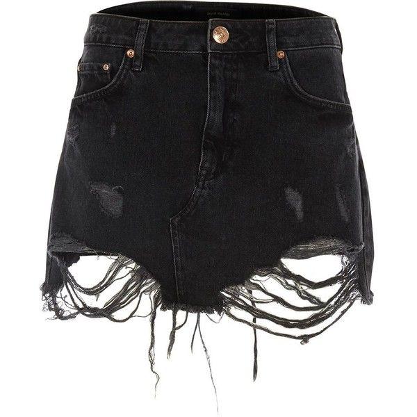 River Island Black ripped lace hem denim skirt ($70) ❤ liked on Polyvore featuring skirts, mini skirts, black, women, denim skirt, distressed denim skirt, tall denim skirt, mini skirt and lacy skirt
