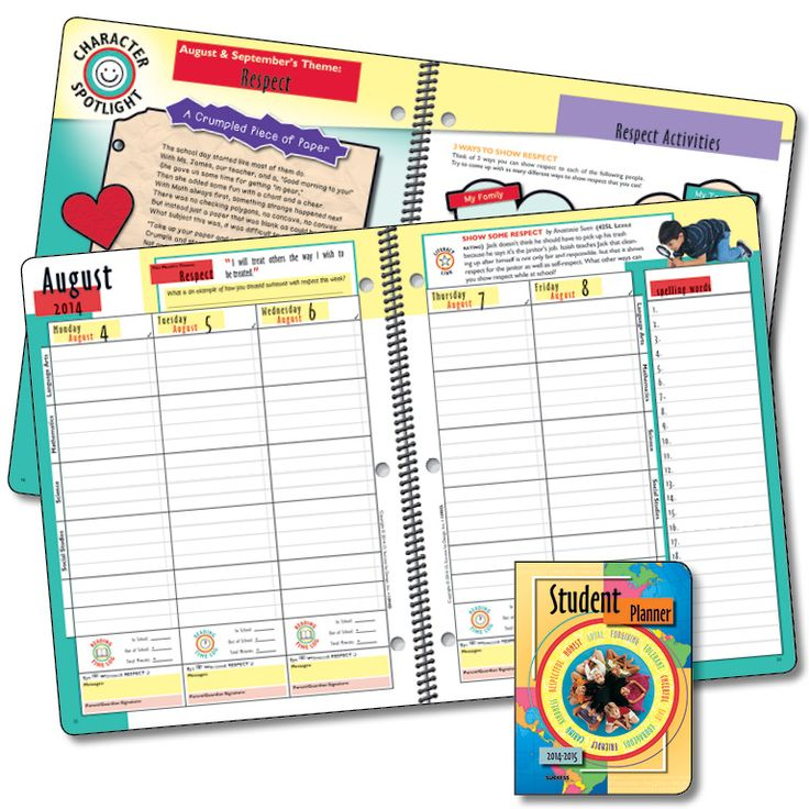 1090d elementary character planner elementary school planner this colorful planner is character focused