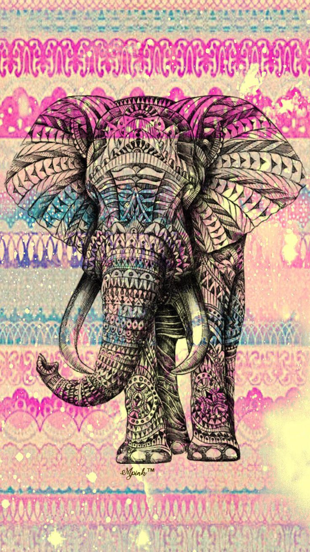Vintage Boho Elephant Wallpaper iPhone/Android Wallpaper I