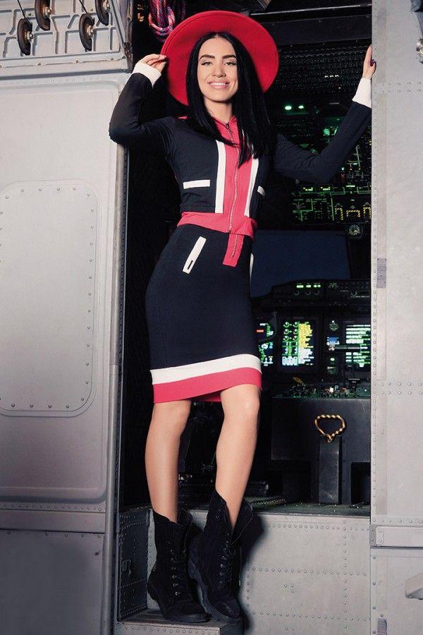 £: Completo sportivo - felpa con cappuccio e gonna - nero rosso bianco - DENIM & LOOK SPORTIVO - Abbigliamento » Moda Mania