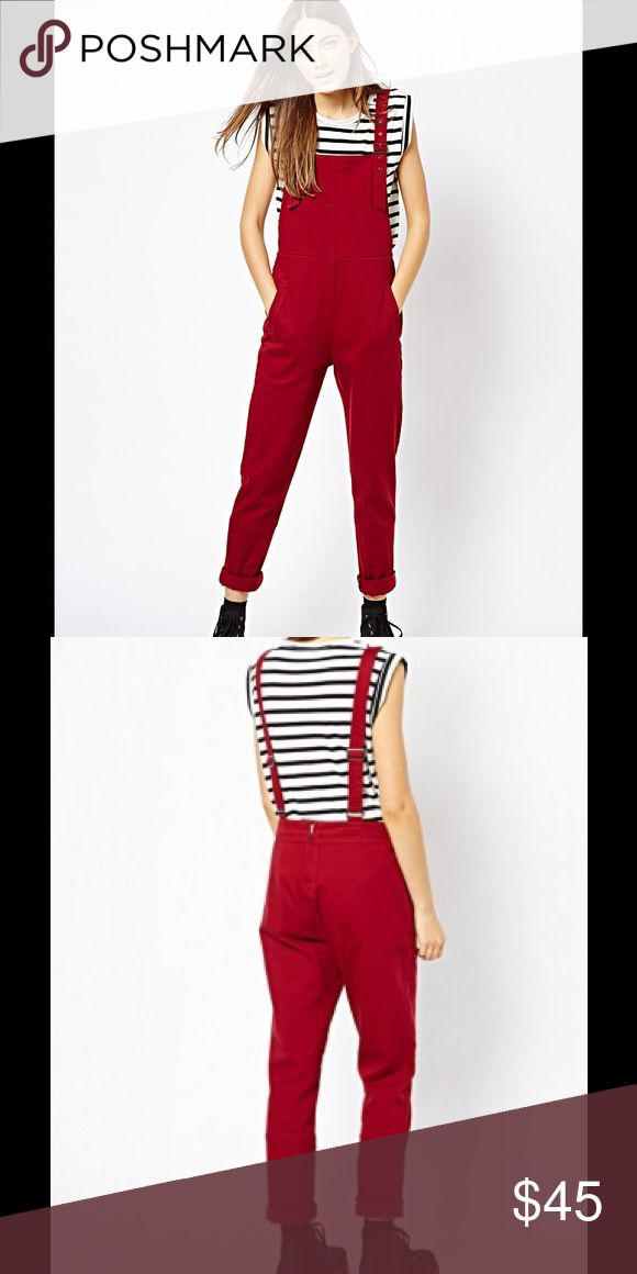 🚩SOLD OUT ASOS red twill overalls Worn 3 times, perfect condition. Sold out everywhere online. Color is a deep red more burgundy Asos Pants