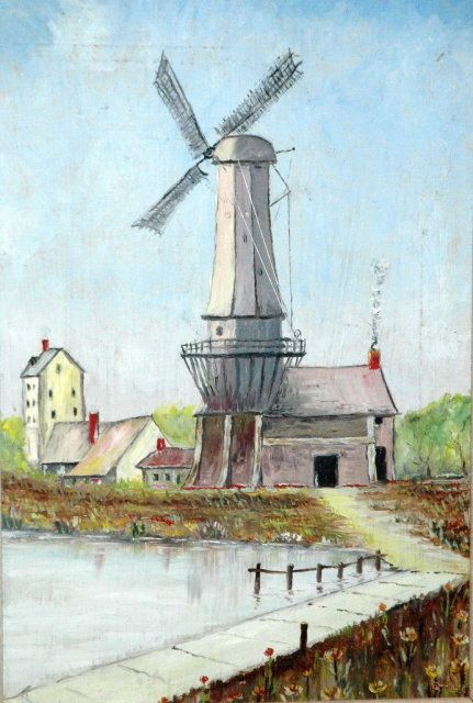 Vintage Dutch Windmill Oil Painting signed | ART | Pinterest Dutch Windmill Painting