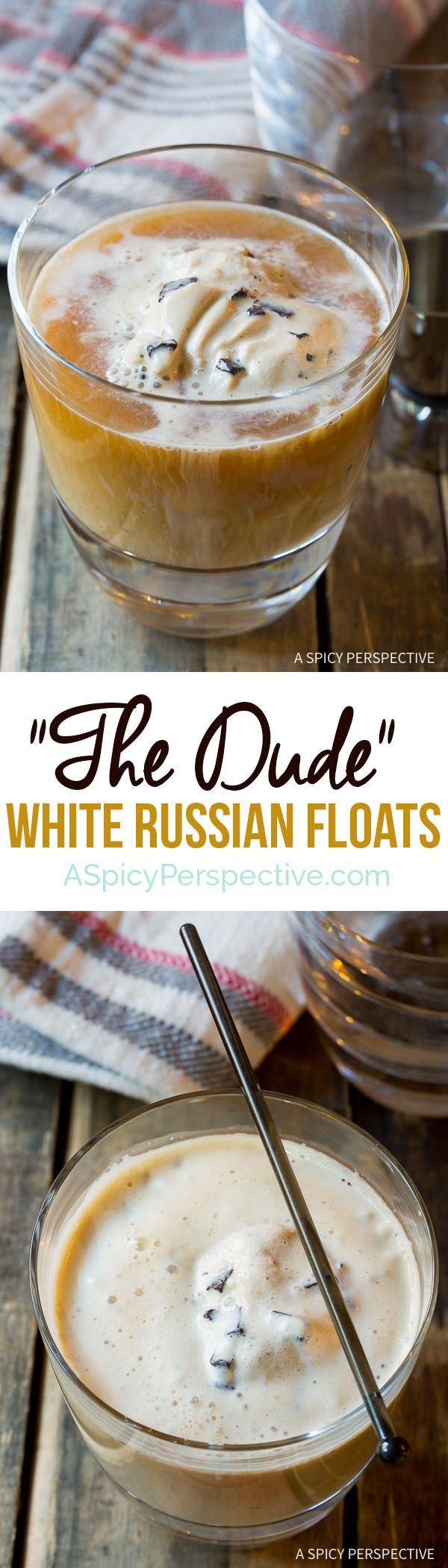 "Celebrate the season with ""The Dude"" White Russian Floats on ASpicyPerspective.com #holiday #cocktail"