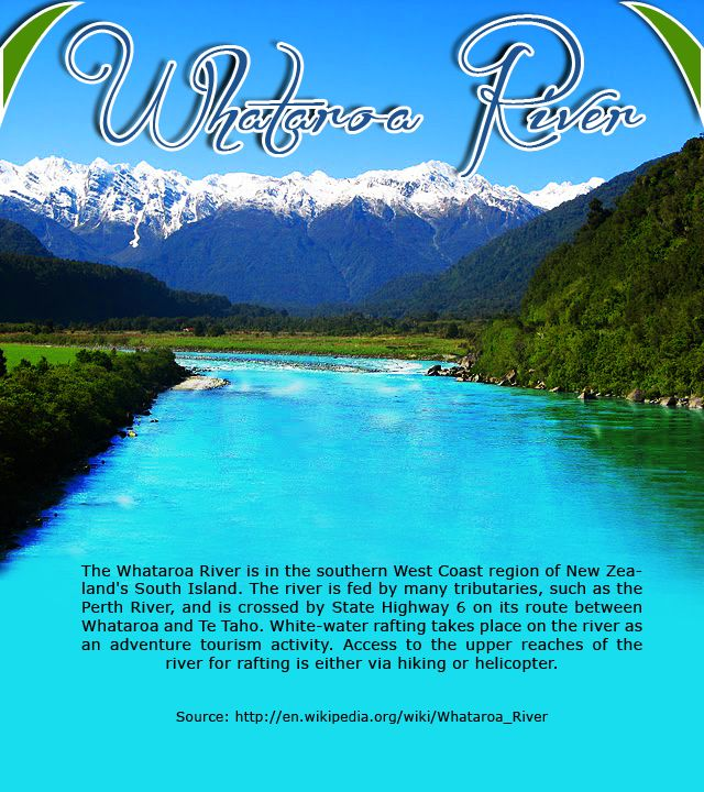 Whataroa River - New Zealand :  The #Whataroa River is in the southern West #Coast region of New Zealand's #South #Island. The #river is fed by many #tributaries, such as the #Perth River, and is crossed by State #Highway 6 on its route between Whataroa and Te Taho.    Source: http://en.wikipedia.org/wiki/Whataroa_River     #whataroariver #travel #kiwitravel #flightstonewzealand      Book #flights : http://www.kiwitravel.co.uk/