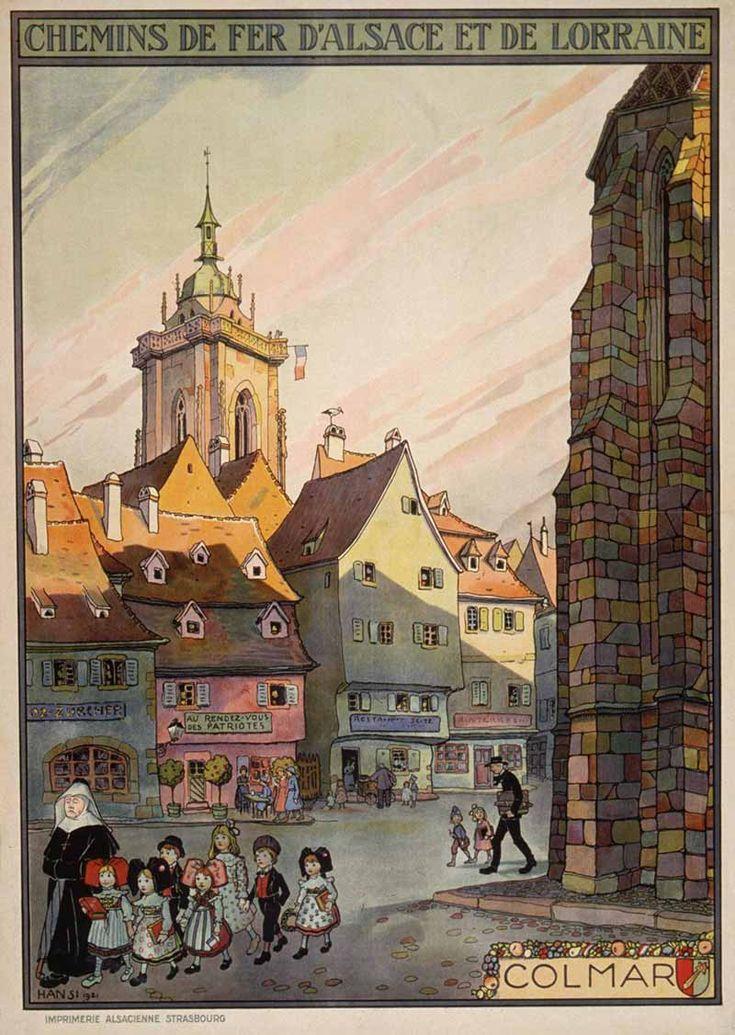 Colmar, illustration d'Hansi pour les Chemins de Fer d'Alsace et de Lorraine, 1921.