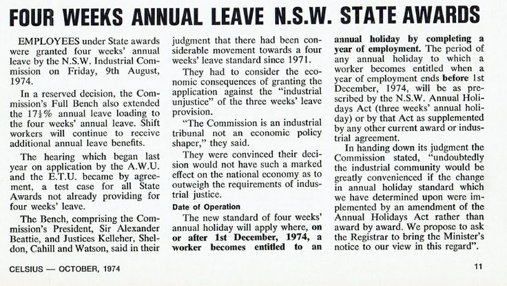 THROWBACK THURSDAY: Four weeks annual leave NSW State Awards