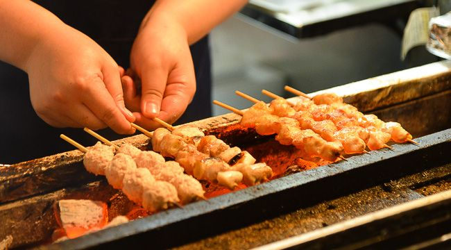 Yakitori - are grilled chicken skewers made from bite sized pieces of meat from all different parts of the chicken, such as the breasts, thighs, skin, liver and other innards. Usually made to order and cooked over charcoal, yakitori is a popular, inexpensive dish commonly enjoyed together with a glass of beer......