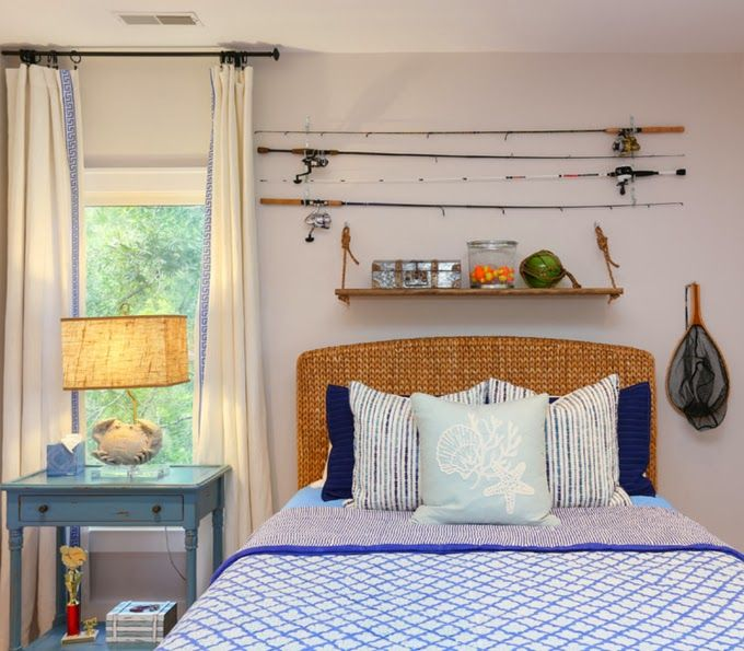 House Of Turquoise Cindy Mihuc Fishing Rods And Shelf Donned Above Wicker Headboard In