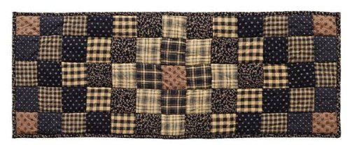 """Colfax 13x36"""" Quilted Table Runner by Victorian Heart Co., Inc.. $18.95. Sold individually. Available in tabletop, quilts, bedding accessories, and window treatments.. Dimensions: 13"""" x 36"""". 100% cotton, machine washable. Colfax features quilted items in a trip around the world pattern in onyx, tan and wheat, hand quilted with """"stitch in the ditch"""" quilting. This runner is 100% cotton and measures 13""""x36"""". This runner features a trip around the world pattern and has a..."""