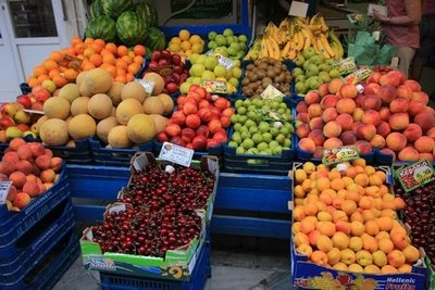 Vegetables in market near the port of Syros #syros
