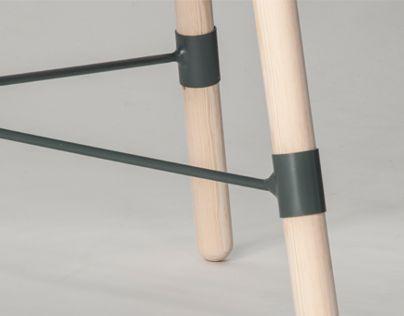 Khaki and blonde timber: table/bench leg detail