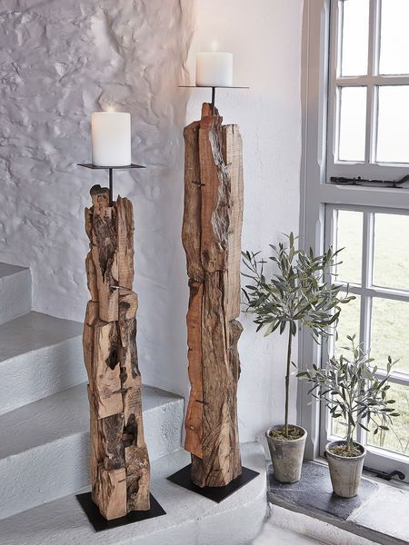Driftwood Floor Candle Holders. Our beautifully hand-crafted, driftwood candle holders are undeniable statement pieces. #driftwood #floorcandleholder