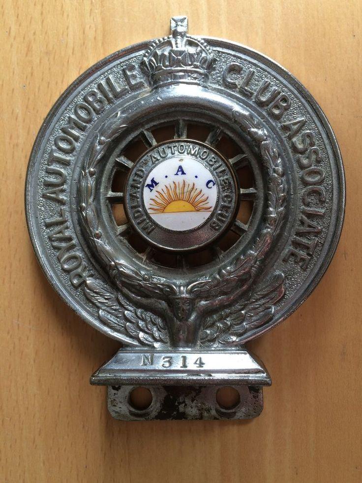 Rare vintage automobile bar badges