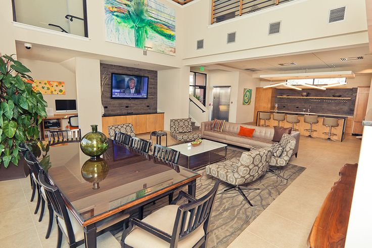 The Radius Apartments Clubhouse, equipped with a business center, catering kitchen, and media lounge. www.RadiusApartments.com