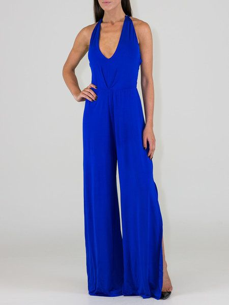 Blue Racerback Plunging Neck Statement Slit Jumpsuit