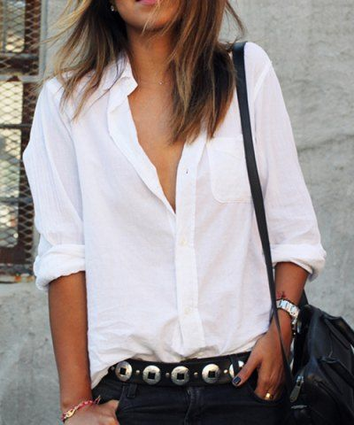 Casual Solid Color Shirt Collar Long Sleeves Loose-Fitting Shirt For Women