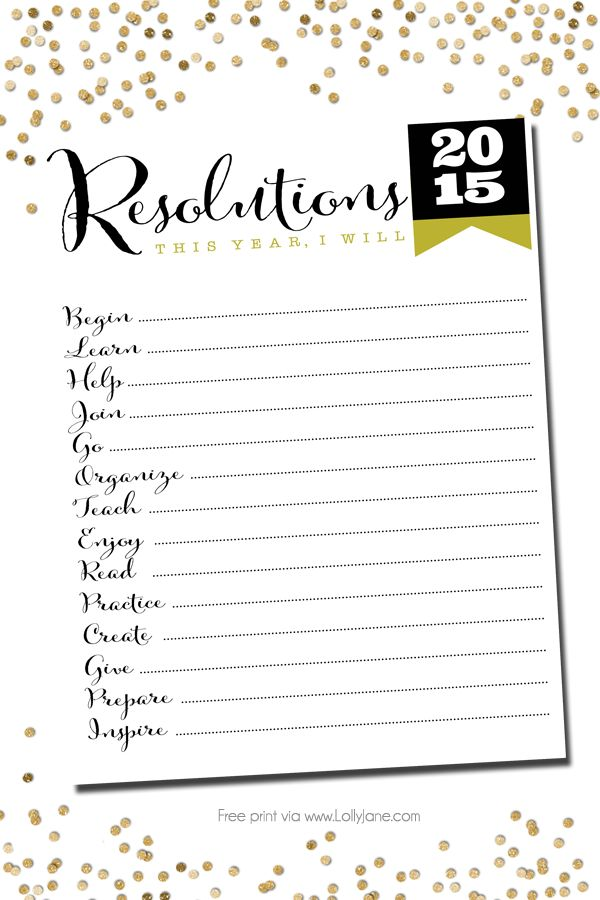 2015 Resolutions FREE printables, stick to your goals!